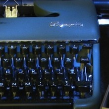 typewriter and index cards