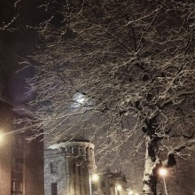 Four Courts with moon and snow