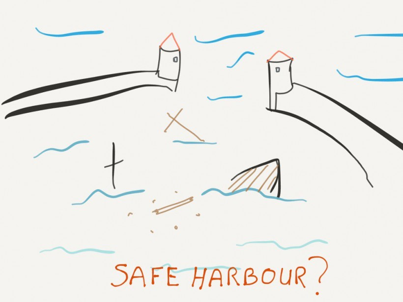 Cartoon of Safe Harbor wreakage