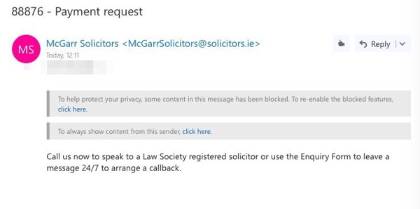 This is a phishing email, not from McGarr Solicitors