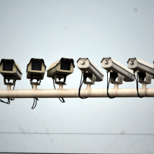 A line of CCTV cameras