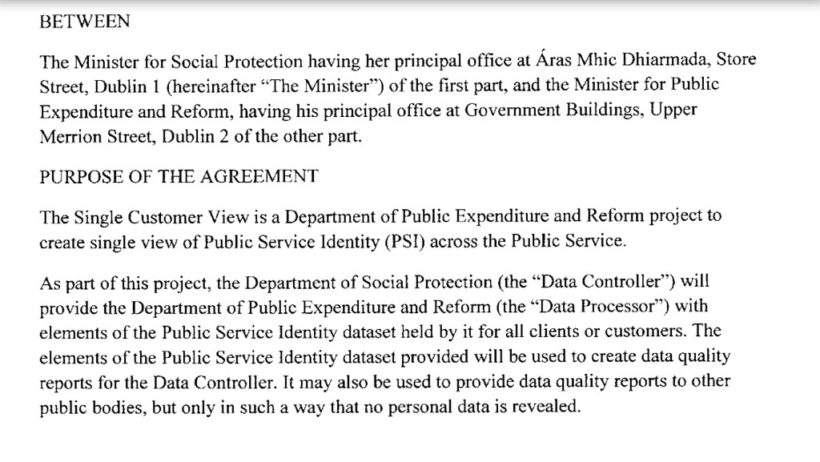 The Data Sharing Agreement Re The Public Services Card Mcgarr